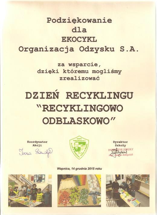 Podziękowanie od Szkoły Podstawowej Nr 2 w Wapnicy