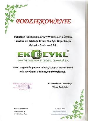 Podziękowanie od Publicznego Przedszkola nr 6 w Wodzisławiu Śląskim