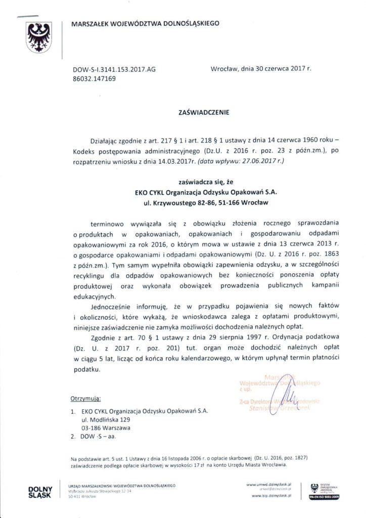 Zaświadczenie Urzędu Marszałkowskiego Województwa Dolnośląskiego